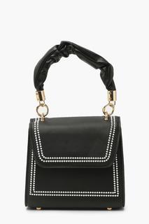 boohoo - Womens Ruched Handle Top Stitched Mini Grab Bag - Black - One Size, Black