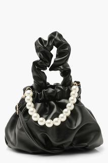 boohoo - Womens Rouched Handel Pearl Detail Cross Body Bag - Black - One Size, Black