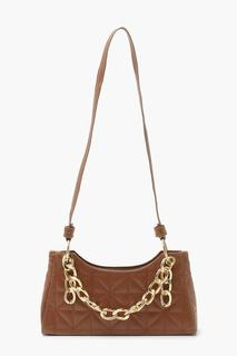 boohoo - Womens Chunky Chain Quilt Detail Under Arm Bag - Brown - One Size, Brown