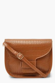 boohoo - Womens Croc Rounded Cross Body Bag - Brown - One Size, Brown
