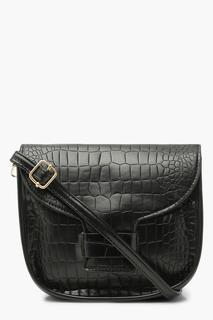 boohoo - Womens Croc Rounded Cross Body Bag - Black - One Size, Black