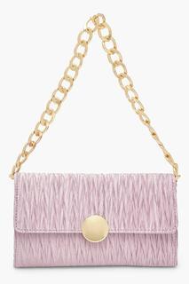 boohoo - Womens Pleat Structured Chunky Chain Underarm Bag - Purple - One Size, Purple
