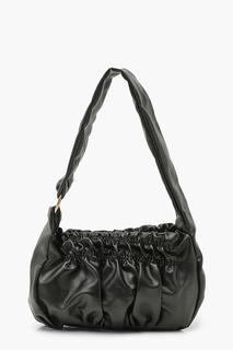 boohoo - Womens Slouchy Rouched Under Arm Bag - Black - One Size, Black