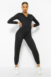 boohoo - Womens Notch Neck Loopback Long Sleeve Sweat Jumpsuit - Black - 14, Black