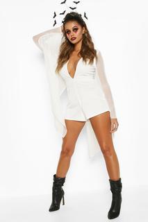 boohoo - Womens Halloween Mesh Cape Plunge Playsuit - White - 14, White
