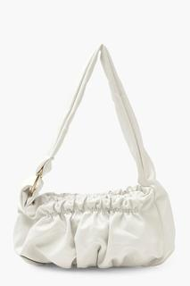 boohoo - Womens Slouchy Rouched Under Arm Bag - White - One Size, White