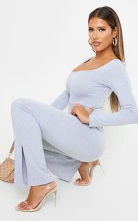 PrettyLittleThing - Shape Grey Cotton Square Neck Long Sleeve Split Hem Jumpsuit, Grey
