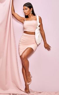 PrettyLittleThing - Blush Slinky Ruched Side Seam Mini Skirt, Pink