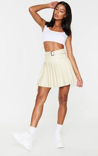 PrettyLittleThing - Cream Faux Leather Belted Skater Skirt, White