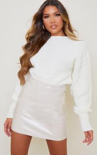 PrettyLittleThing - Cream Faux Leather Croc Effect Mini Skirt, White