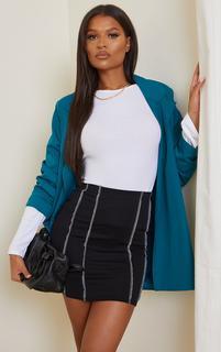 PrettyLittleThing - Black Overlock Seam Detail Mini Skirt, Black
