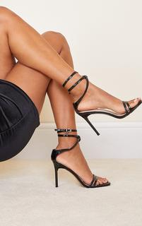 PrettyLittleThing - Black Double Strap Multi Ankle Tie High Heeled Sandals, Black