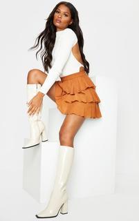PrettyLittleThing - Rust Woven Tiered Ruffle Skirt, Orange
