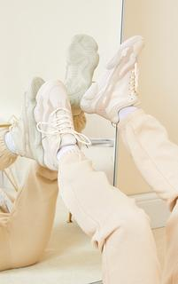 PrettyLittleThing - Sand Wide Fit Chunky High Top Bubble Sole Lace Up Trainers, Sand