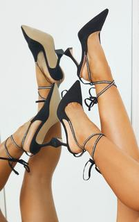 PrettyLittleThing - Black Suede Pointed Toe Diamante Lace Up High Heels, Black