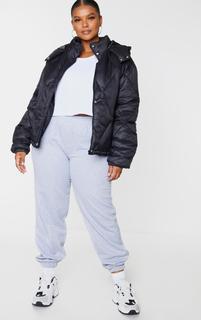 PrettyLittleThing - Plus Black Nylon Diamond Quilted Hooded Puffer Jacket, Black