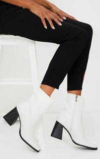 PrettyLittleThing - White Square Toe Flare Block Heel Ankle Boot, White