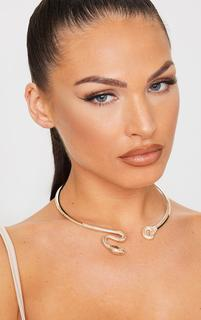 PrettyLittleThing - Gold Oversized Snake Choker, Yellow