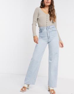 Levis - Levi's – Gerade, locker geschnittene Jeans mit hohem Bund in gebleichter Waschung-Blau