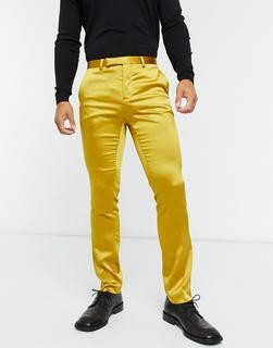 Twisted Tailor - Senfgelbe Anzughose aus Satin mit Schal-Revers