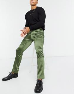 Twisted Tailor - Anzughose aus Satin in Khaki-Grün