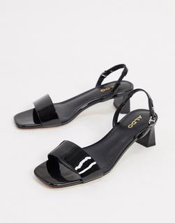 ALDO - Schwarze Sandalen mit mittelhohem Absatz und Fersenriemen