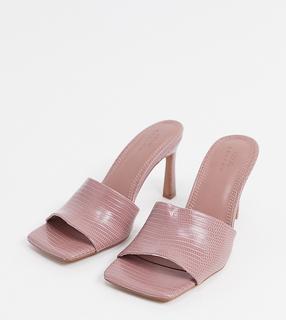 ASOS DESIGN - Wide Fit – Hattie – Mule-Sandalen mit mittelhohem Absatz in Zartrosa/Echsenoptik