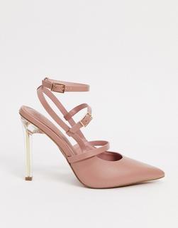 ASOS DESIGN - Professor – Spitze High-Heels in Rosé und Transparent-Rosa