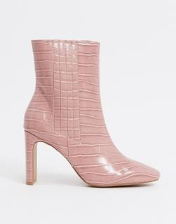 ASOS DESIGN - Embark – Hohe Ankle-Boots mit Krokomuster in Rosa
