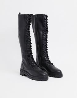 STEVE MADDEN - Namira – Kniehohe Schnürstiefel aus schwarzem Leder