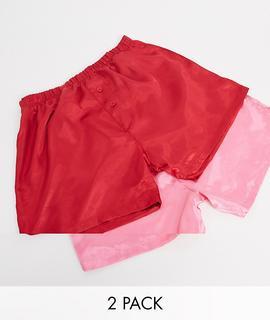 ASOS DESIGN - 2er-Pack Boxershorts aus Satin in Rot & Pink-Mehrfarbig