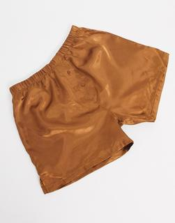 ASOS DESIGN - Seidige Boxershorts in Kupfer-Orange