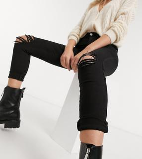 Dr Denim Petite - Lexy – Superenge schwarze Jeans mit mittelhohem Bund und Knierissen