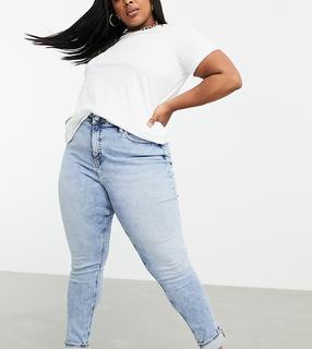 Calvin Klein Jeans Plus - Enge Jeans mit hohem Bund in verwaschenem Hellblau