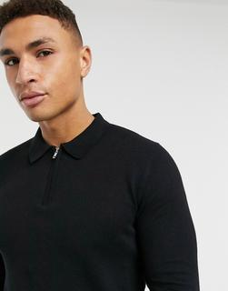 Topman - Schwarzes Strick-Polohemd mit Reißverschluss-Kragen