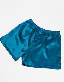 ASOS DESIGN - Boxershorts aus Satin in Blau