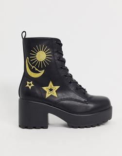 Koi Footwear - Koi London – Robuste, vegane Ankle-Boots in Schwarz und Gold mit Himmelsdesign