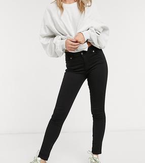 Dr Denim Petite - Lexy – Superenge schwarze Jeans mit mittelhohem Bund