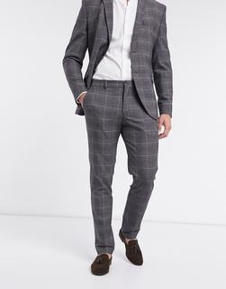 Selected Homme - Schmal geschnittene, karierte Anzughose in Grau