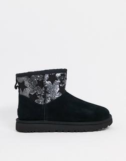 UGG - Klassische Stiefel in Schwarz mit kleinen Paillettensternen