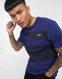 G-Star - Blaues T-Shirt mit Patchwork-Design