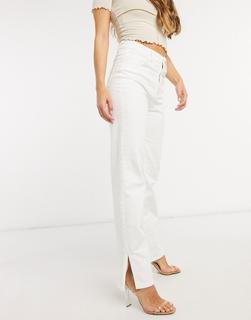 Femme Luxe - Jeans mit hoher Taille und geradem Bein in Weiß
