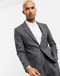 Shelby & Sons - Schmale Anzugjacke aus Tweed mit Taschenkette, in Grau kariert