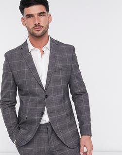Selected Homme - Schmal geschnittene, karierte Anzugjacke in Grau