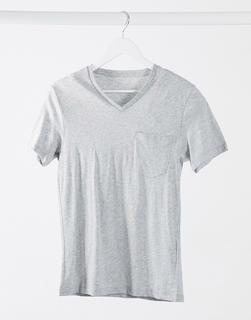 Celio - T-Shirt mit V-Ausschnitt in Kalkgrau