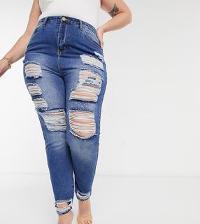 Yours - Utlimate – Blaue Mom-Jeans in Used-Optik
