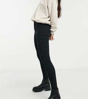 Dr Denim Tall - Plenty – Eng geschnittene Jeans in Schwarz mit mittelhohem Bund