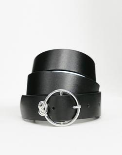 ASOS DESIGN - Silberfarbener Gürtel mit runder Schnalle und Knotendetail-Schwarz