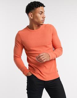 Boss - Tempest – Langärmliges Shirt mit Rundhalsausschnitt-Orange