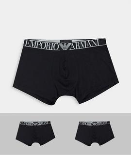 Emporio Armani - Schwarze Unterhosen mit großem Logo, 2er-Pack